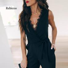 Explosion models hot 2019 summer fashion sexy lace strap womens jumpsuit