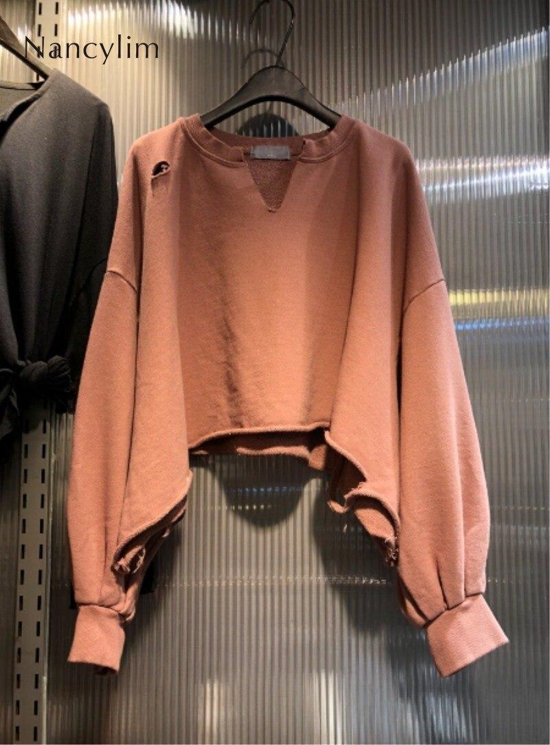 2019 Autumn Winter New Solid-color Personality Hole Hoodies Korean V Neck Long Sleeved Short Loose Sweatshirt Harajuku Pullovers