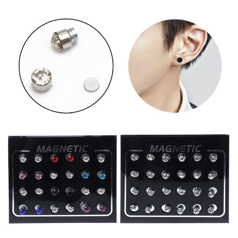 12 Paires Pince Magnétique Non Piercing Cristal Strass Boucles D/'oreilles Bijoux ~~