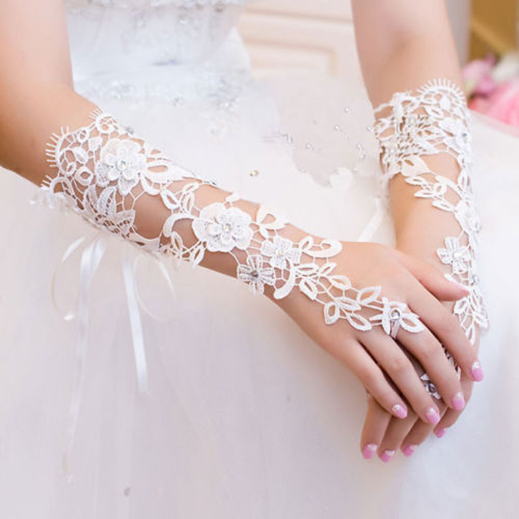 White Lace Fingerless Elbow Long Gloves W Rhinestone For Wedding Bridal Prom