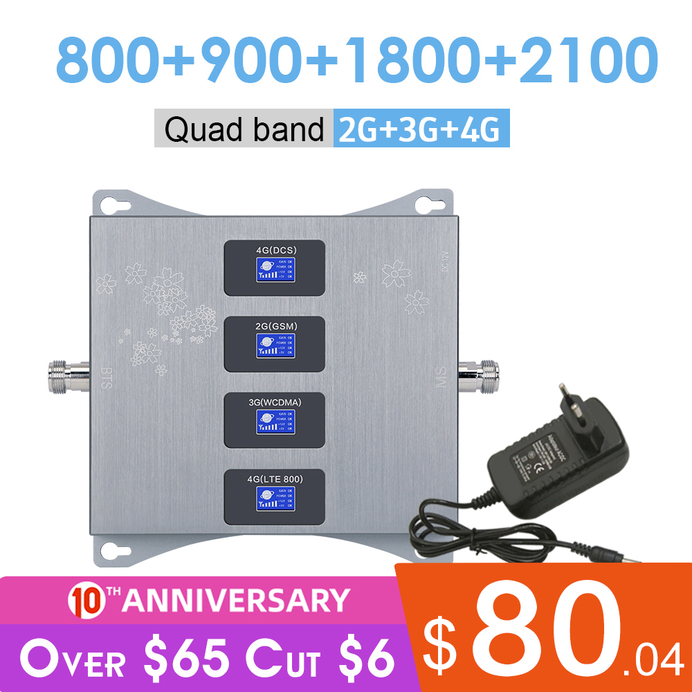 LTE 800 900 1800 2100 MHz Qaud Band Mobile Signal Amplifier 2G 3G 4G Cell Phone Booster 4G LTE GSM DCS WCDMA Cellular Repeater @
