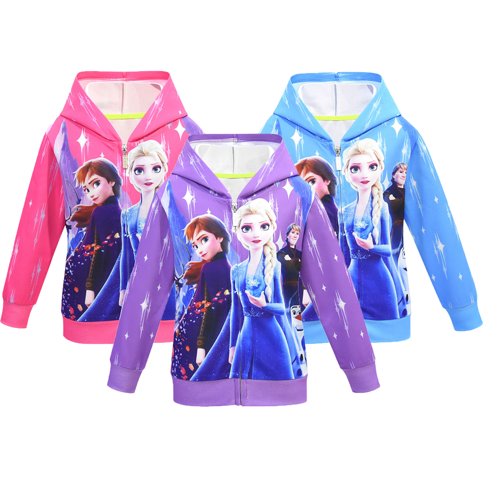 Ice Snow Queen 2 Girls Hoodies Elsa Anna Sweatshirt For Girls Full Sleeve Kid Clothes Toddler Girls Sweatshirt Children Clothing