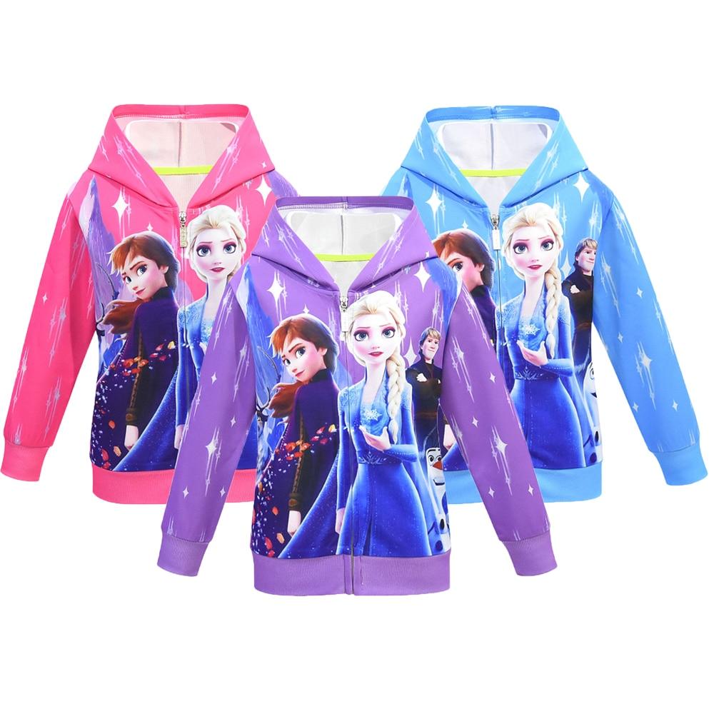 Ice Snow Queen 2 Girls Hoodies Elsa Anna Sweatshirt For Girls Full Sleeve Kid Clothes Toddler Girls Sweatshirt Children Clothing