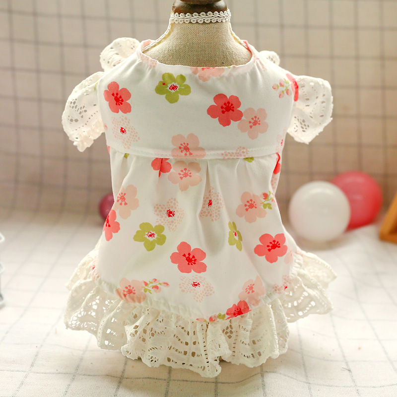 Dog Dress Princess Flower Lace Dress Spring Summer Pets Outfits Dog Clothes For Small Dog Party Dog Skirt Puppy Pet Costume
