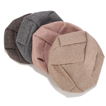 Hot Brand Women Wool beret For Elegant lady Winter Female Cotton Hats Plaid Vintage Octagonal Casual boina Autumn girl Cap
