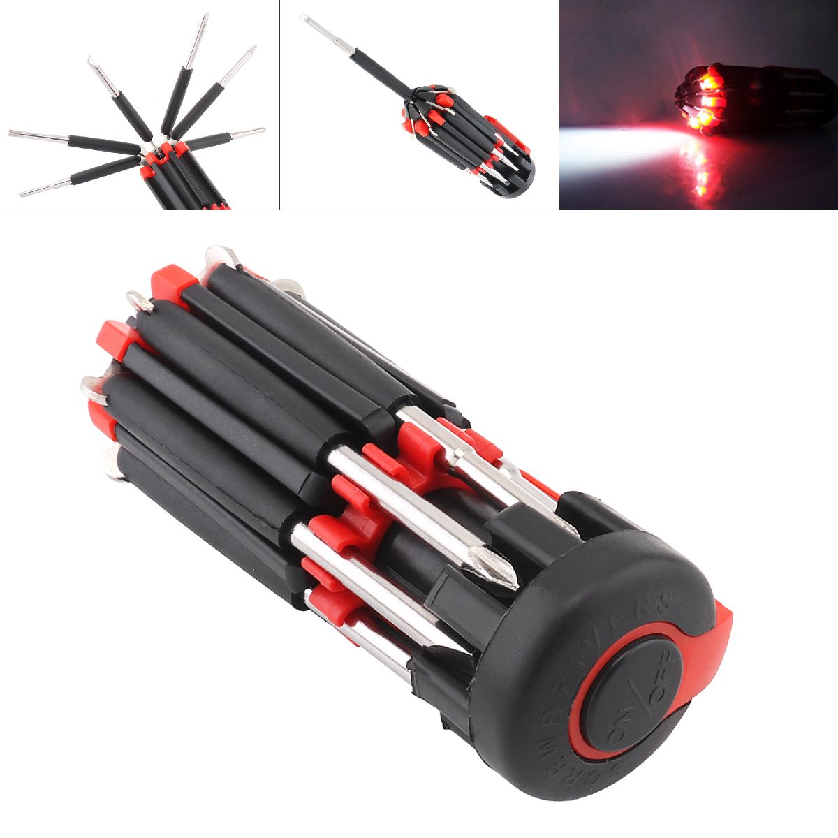 <font><b>8</b></font> <font><b>in</b></font> <font><b>1</b></font> Multifunction <font><b>Screwdriver</b></font> Set Hand Repair Tools Multi Screw Driver with LED <font><b>Flashlight</b></font> Torch for Home Appliance Car image