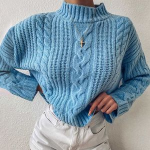 Knitted Turtleneck Sweater Women Autumn Ladies Solid Pullover Sweater Korean Style Female Long Sleeve Knit Jumpers Femme