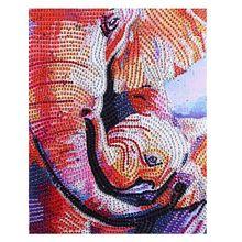 цена на The Baby Elephant 5D Round Shaped Diamond Painting Embroidery Needlework Rhinestone Crystal Cross Craft Stitch Kit