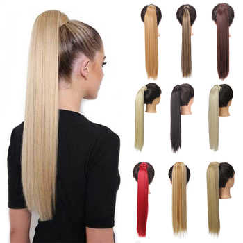 JINKAILI Long Straight Hair Extension Synthetic Ponytail Extensions with Black Blonde Brown Colors For Women