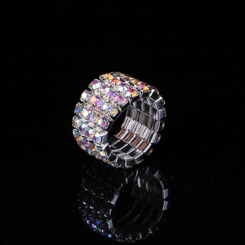 TDQUEEN 1-5 Rows AB Crystal Stone Rings Silver Plated Bridal Wedding Rhinestone Elastic Stretch Rings for Women