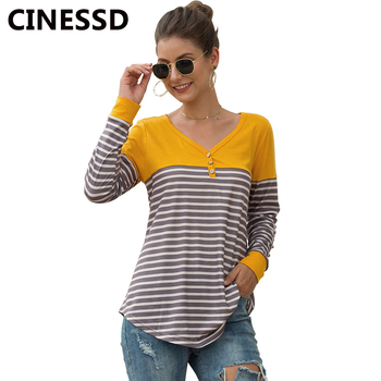 CINESSD Striped Patchwork Button Blouse Women V Neck Long Sleeve Casual Pullover Tops 2019 Slim Tee Shirts Fashion Cotton Blouse cutout neck bell sleeve striped tee