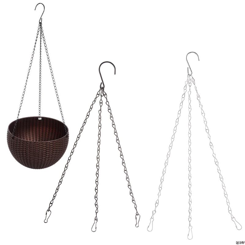 3 Point Garden Basket Iron Hanging Chains Flower Planter Pots Holder Replacement
