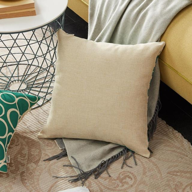 Topfinel Teal Geometric Cushion Covers Cotton Linen Throw Pillowcases for Sofa Chair Bed Home Decorative Scandinavian Style