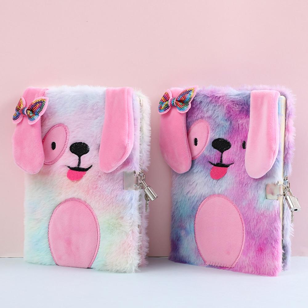 Plush Notebook With Lock Cute Dog Journal A5 Diary Line Paper Planner Organizer Kawaii Back To School Note Book Korean Handbook