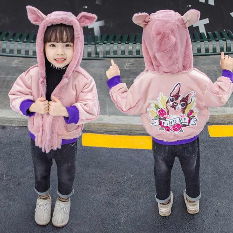CROAL שרי חמוד כלבי ילדים בנות מעילי תינוק בנות פרווה מעיילי ילדי חורף הלבשה עליונה & מעילים לעבות צמר בנות בגדים