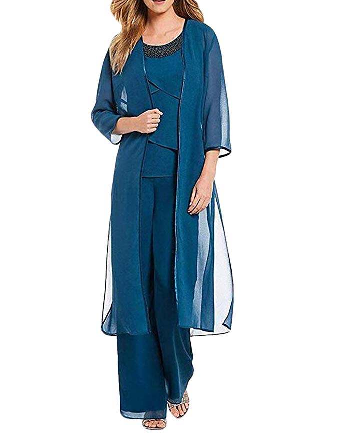 Women 3 Pieces Crystal Chiffon Mother Of The Bride Dress Pants Suit With Jacket Outfit 3/4 Sleeves For Wedding