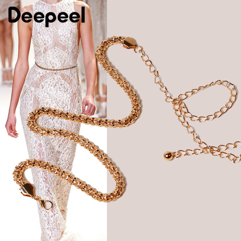 Deepeel 2/5pcs 110cm Women Corn Pattern Cylinder Cummerbunds Metal Exquisite Chain Fashion Corset Girdle Accessories For Dress