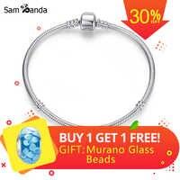 Original 100% 925 Sterling Silver Bracelet Bead Charm Heart Snowflake Rose Snake Chain Basic Bracelets Pan Women DIY Jewelry