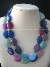 "wholesale 2rows nature stone horse multicolor necklace 19.5 ""(China)"