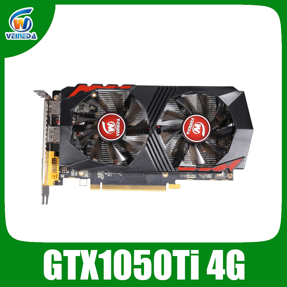 Veineda Video Card GTX1050Ti 4GB 128Bit 1290/7000MHz Graphics Card for nVIDIA Geforce Games image