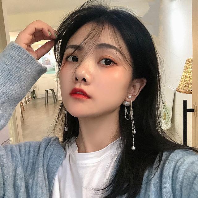 AOMU Korea Design Metal Gold Geometric Irregular Circle Square Natural Freshwater Pearl Stud Earrings for Women Girl Gift 1
