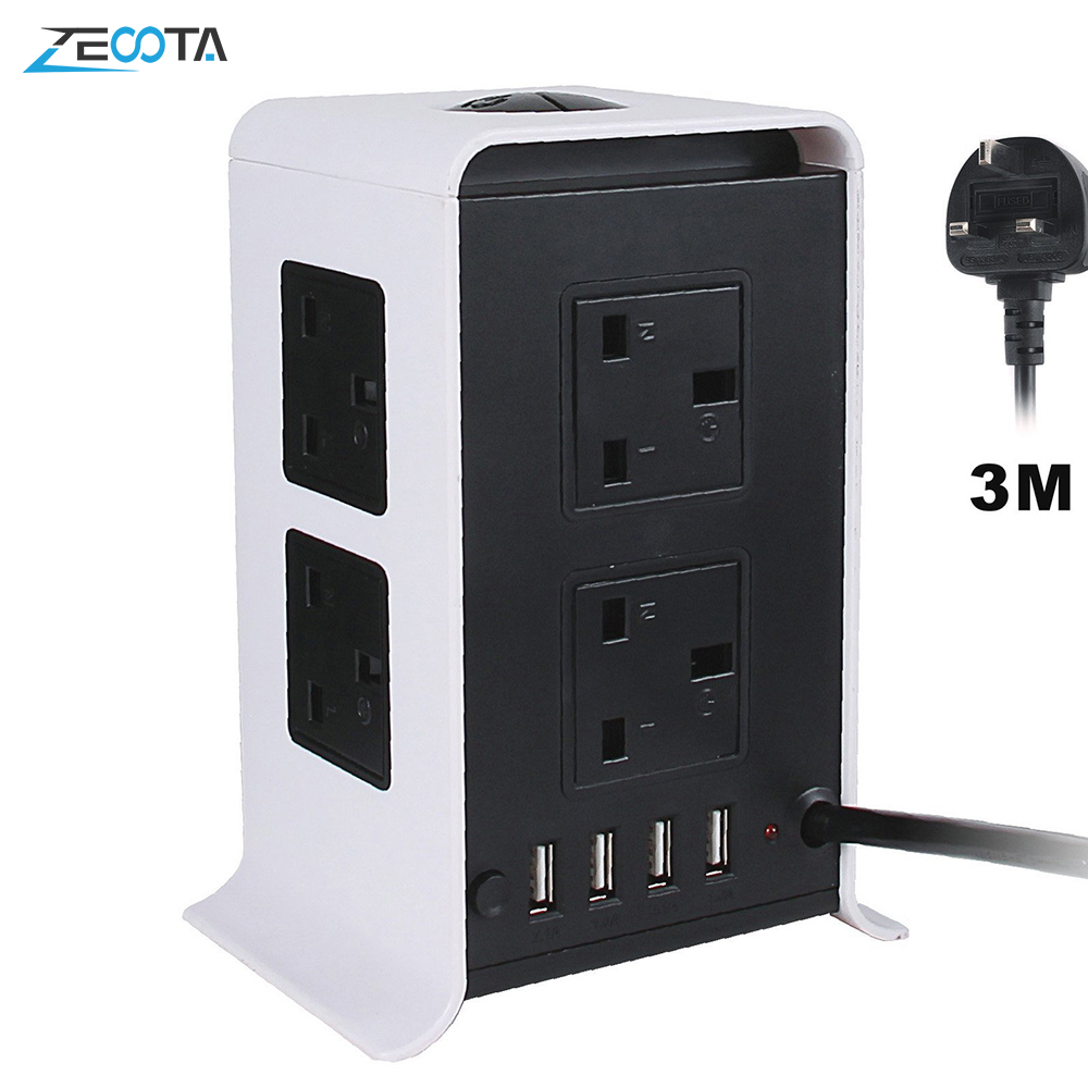 Power Strip Surge Protector 8 Outlets 4 Smart USB Charging Ports for Home Office