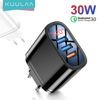 KUULAA Quick Charge 3.0 USB Charger 30W QC3.0 QC Fast Charging Multi Plug Tablet Charger For iPad mini Samsung Xiaomi Huawei