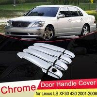 Para lexus ls xf30 430 2001 2002 2003 2004 2005 2006 luxuriou chrome maçaneta da porta capa captura guarnição conjunto estilo do carro acessórios abs