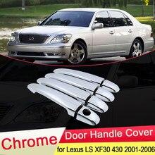 Lexus LS için XF30 430 2001 2002 2003 2004 2005 2006 Luxuriou krom kapı kulp kılıfı yakalamak Trim seti araba Styling aksesuarları ABS