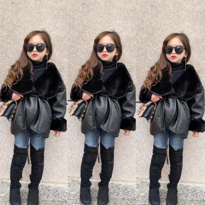 Children girls Pu leather jackets girls plus velvet thicken coats kids fashion outerwear tops 3-10y ws1300