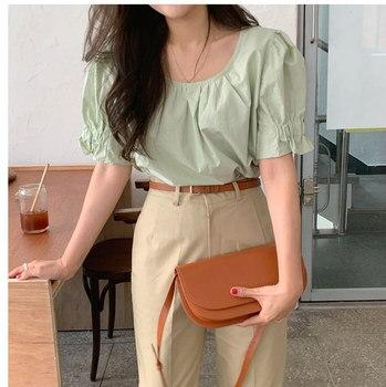 New spring Vintage solid Shirt female Oversize Tops Women short sleeve Girls Blouse Summer New Women Blouses femme Blusas 1