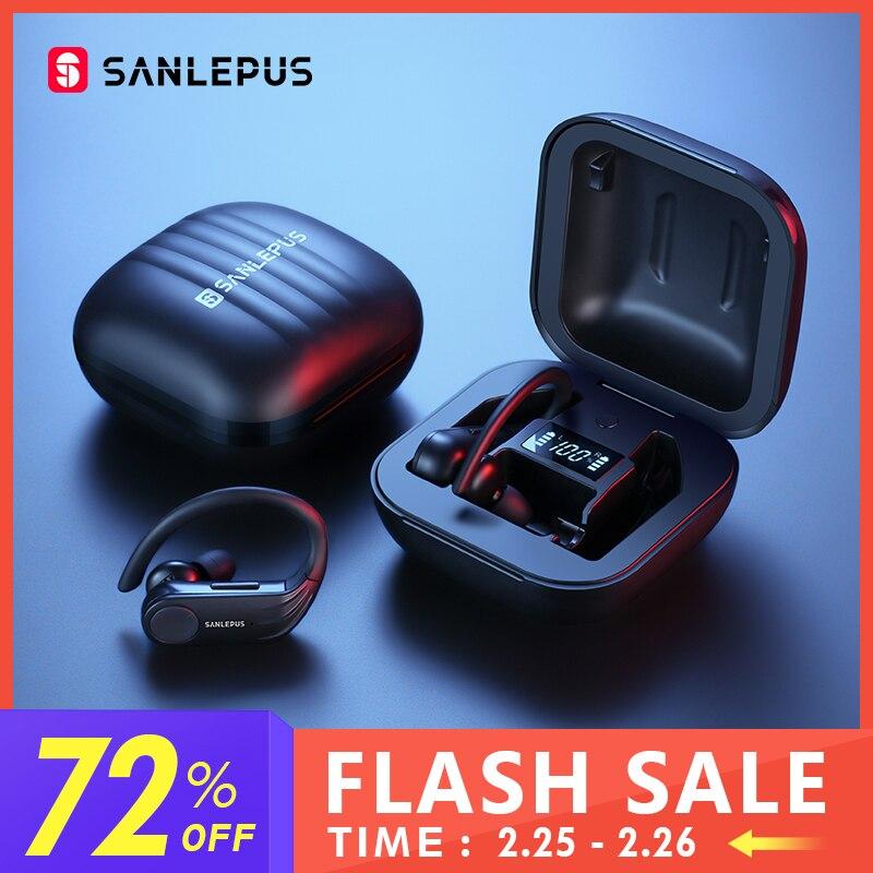 SANLEPUS B1 Led-anzeige Bluetooth Kopfhörer Drahtlose Kopfhörer TWS Stereo Ohrhörer Wasserdichte Noise Cancelling Headset Mit Mic