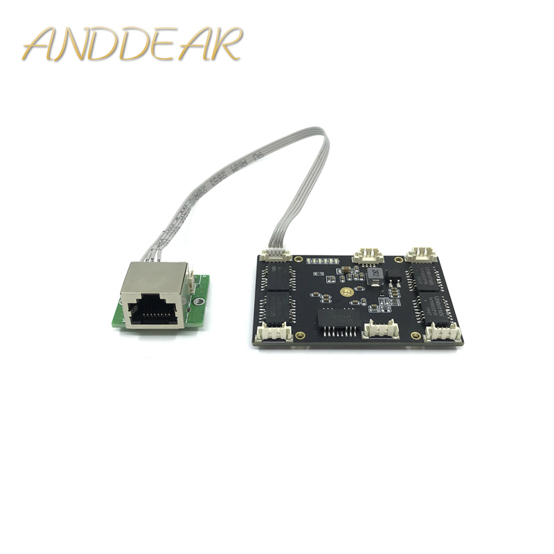 ANDDEAR Customized Industrial 5 Port 10/100M Unmanaged Network Ethernet Switch 12v Pcba Module Network Switch 5 Port 10/100M