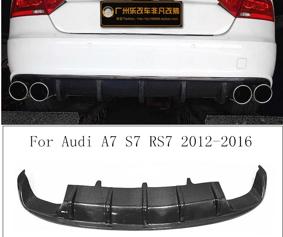 Carbon Fiber <font><b>Rear</b></font> Bumper Lip, Auto Car <font><b>Diffuser</b></font> Fits For <font><b>Audi</b></font> <font><b>A7</b></font> S7 RS7 2012 2013 2014 2015 2016 image