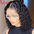 Черные Кудрявые кружевные фонтальные парики изогнутые кружевные волосы кудрявые волосы боб парики для женщин # 1b парики из человеческих во...
