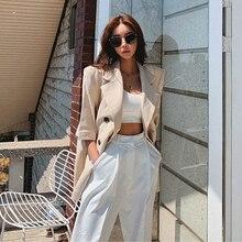 LANMREM Cotton linen suit coat women's thin style loose medium and long Half sle