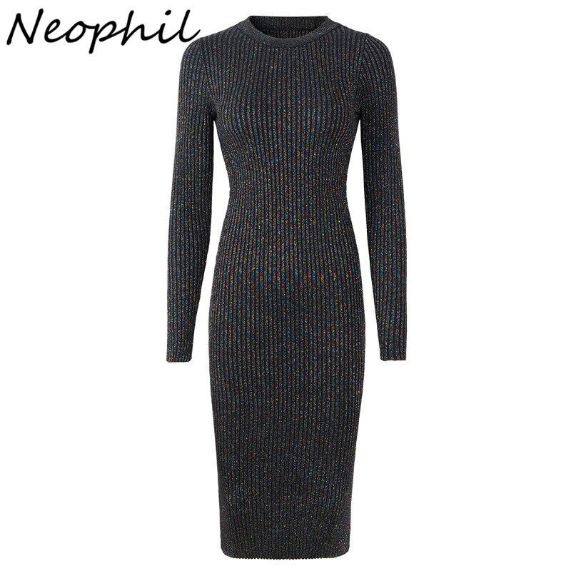 Neophil Knitting Midi Women Dresses 2019 Winter Long Seeve Sexy Elegant Elastic Slim Knitted Sheath Casual Fashion Dress D2989