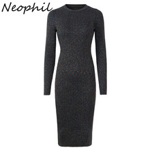 Neophil Knitting Midi Women Dresses 2019 Winter Long Seeve Sexy Elegant Elastic Slim Knitted Sheath Casual Fashion Dress D2989