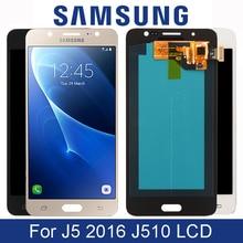 Original 5.2 Super AMOLED LCD สำหรับ Samsung Galaxy J5 2016 จอแสดงผล LCD J510 J510F J510FN J510M หน้าจอสัมผัสอะไหล่