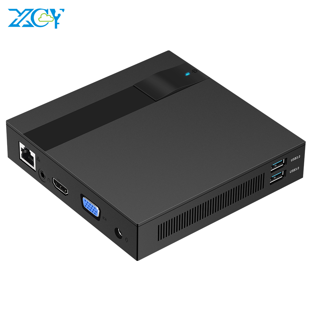 XCY Mini PC Intel Celeron J3455 Quad-core Windows 10 DDR3L M.2 SSD 2.4/5.0G Dual-band WiFi Bluetooth4.0 HDMI VGA 4K 4*USB Type-C