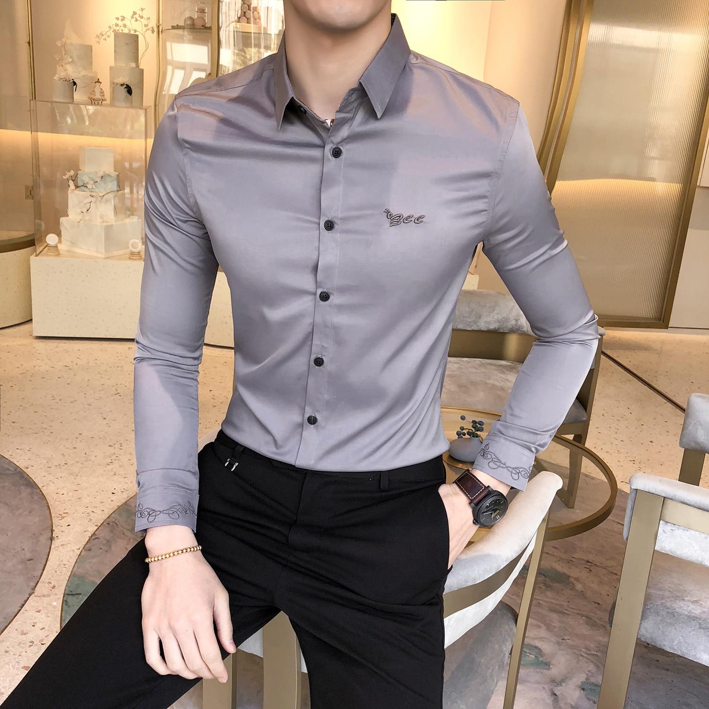 Kemeja Pria Slim Fit Long Sleeve Shirt Men 2020 Spring Social Club Prom Shirt Camisa Masculina New Korean Embroidered Shirt Men