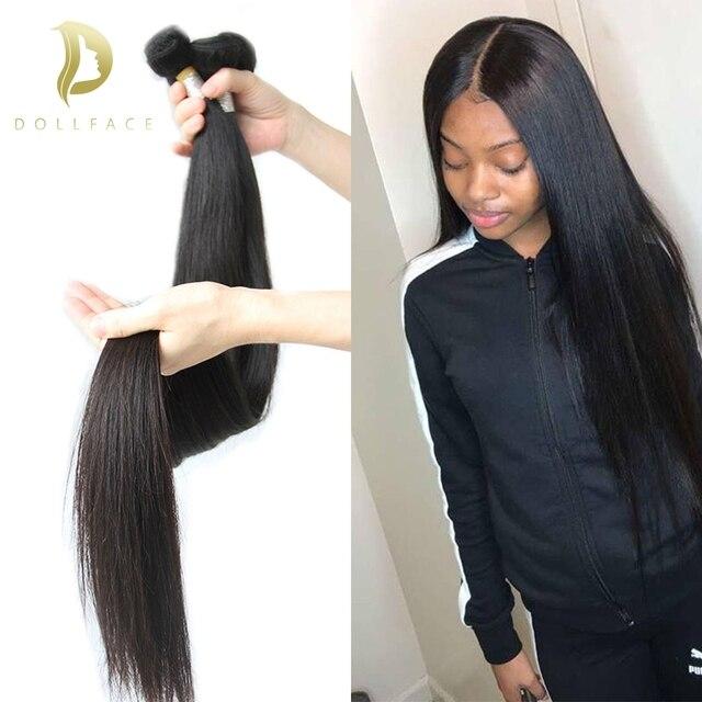 Straight Brazilian Hair Weave 3 4 Bundles With Closure Raw Virgin Short Long Natural Afro Human Hair extensions vendors Dollface