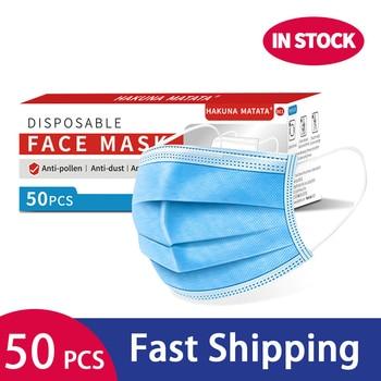 50pcs Face Masks Nonwove Disposable 3 Layers ply Filter Mask Anti Dust Mouth Mask Dust Protective Mask Earloop HAKUNA MATATA