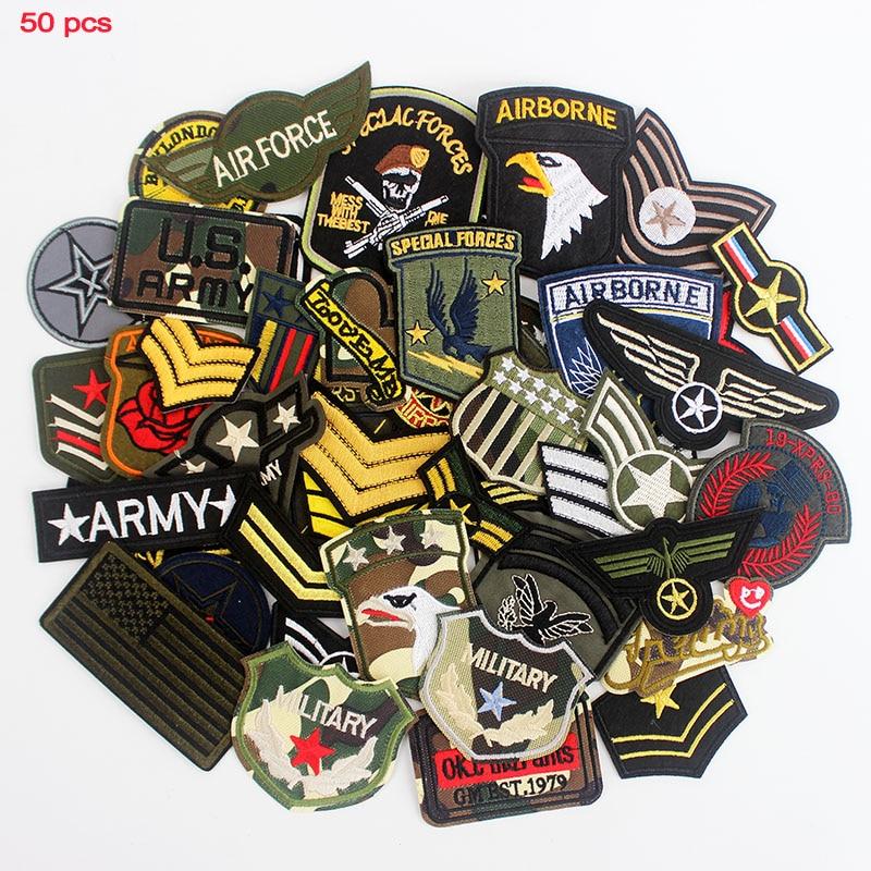 Parches militares del Ejército, insignias planchar en el aire para ropa, uniforme de costura, pegatinas bordadas, apliques DIY mezclados, 50 Uds. Por lote