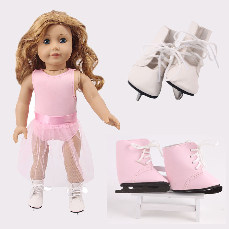 Doll Ice Skate Ballet Lace Sequin Dress,Dance Shoes For 18 Inch American&43Cm Born Baby Our Generation,Birthday Girl's Toy Gift
