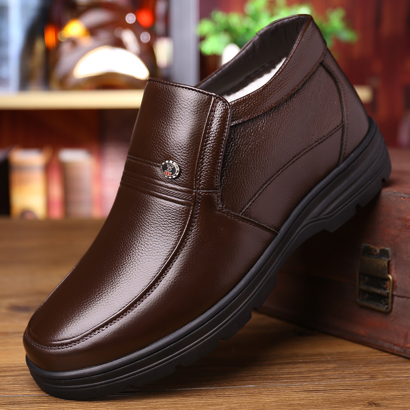 Genuine Leather Shoes Men Winter Boots Warm Cotton Shoes For Cold Winter Cow Leather Men Ankle Boots Male Footwear KA1883