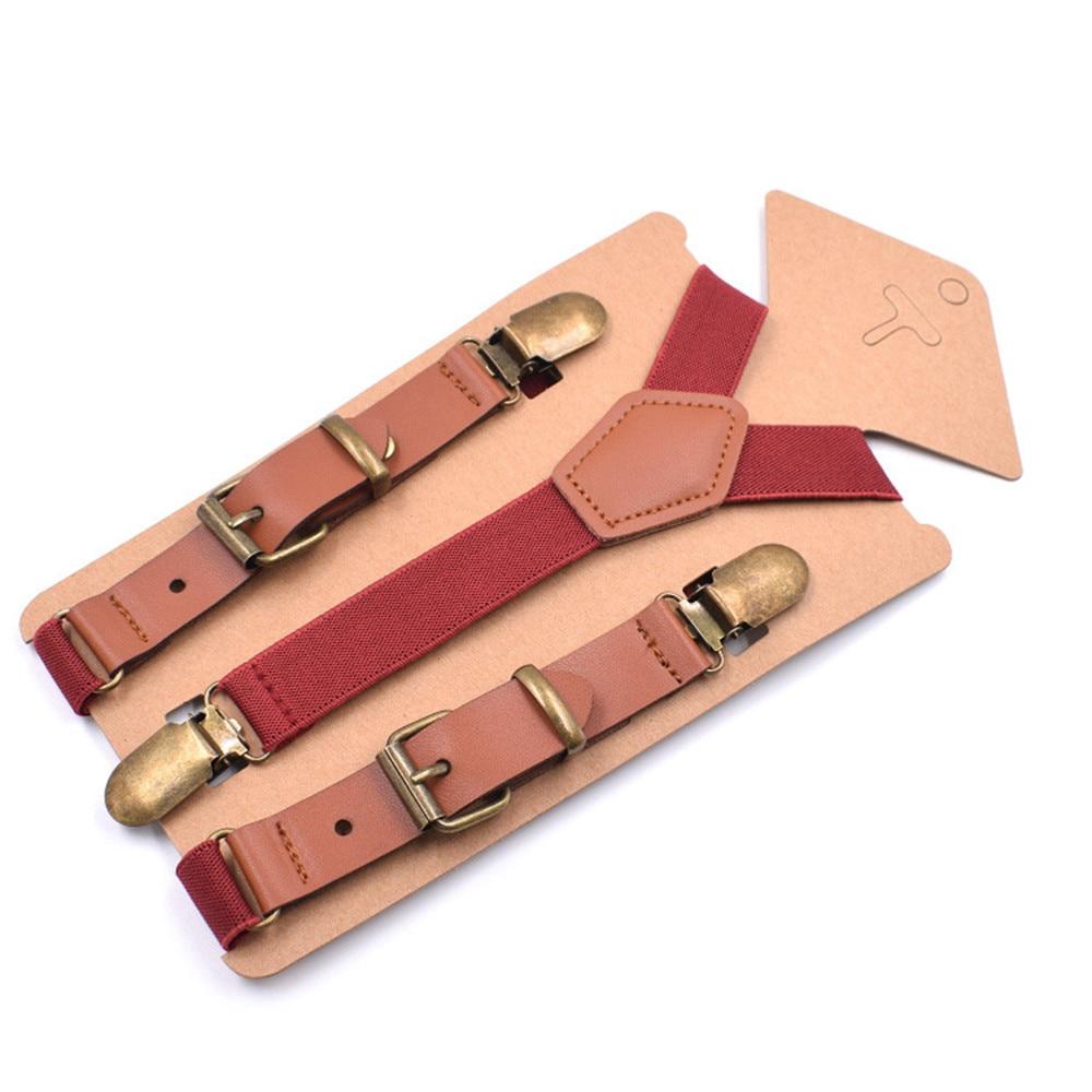 Wholesale 10 Pcs\lot Lovely Kids Suspenders Baby Bretels Adjustable 3 Clip Braces Boys Girls Y-Back PU Leather Suspender