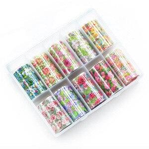 Image 4 - 1 Box Mix Rose Flower Nail Foil Polish Stickers set Nail Transfer Foil Paper Starry Nail Art Sticker Decoration Nails Wraps tool