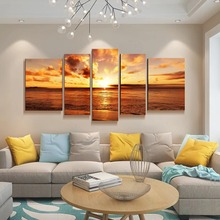 Canvas 5 pieces combined Paintings wall art Seaside sunset  pictures for living room poster abstract painting framework