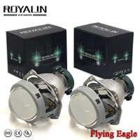 ROYALIN Bi Xenon Metal Flying Eagle Hella 3R G5 Headlights Lens Universal Car Lamp D1S D2S D2H D3S D4S Projector Lights Retrofit